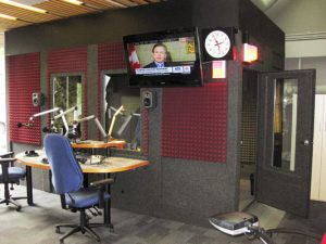 image of a whisperroom booth inside of a broadcast studio