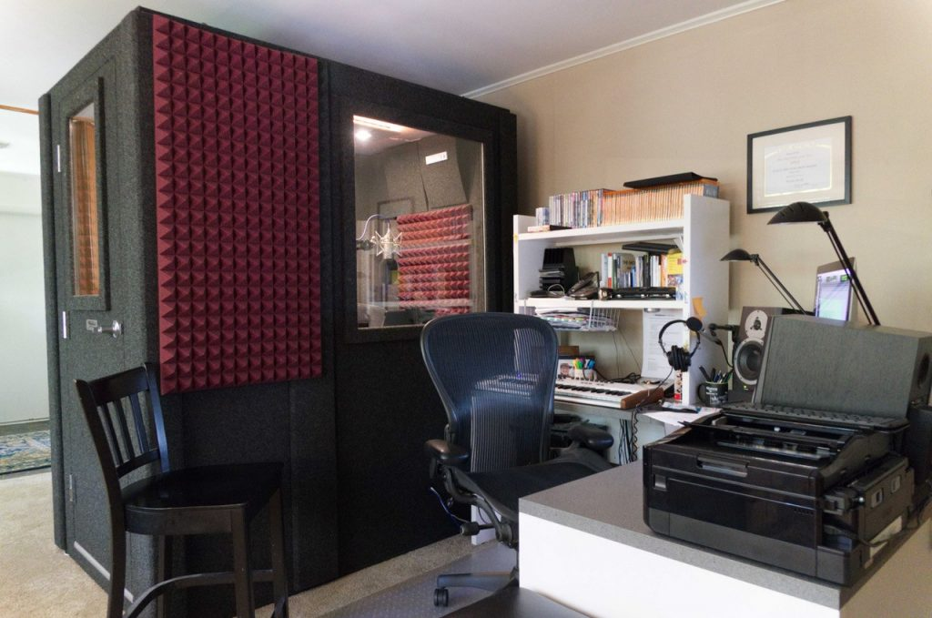 image of a WhisperRoom vocal booth inside of a home office