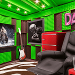 a recliner, tv, guitar, and mini fridge set up inside of a soundproof WhisperRoom man cave