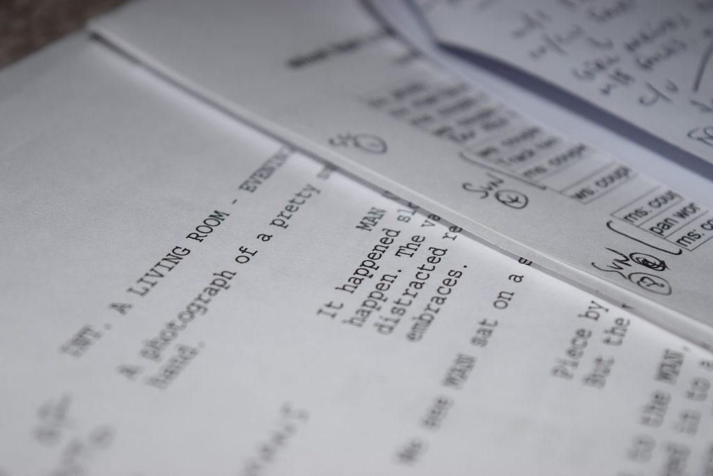 A script with pen marked notes on it