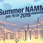 Nashville skyline outlined with the Summer NAMM logo