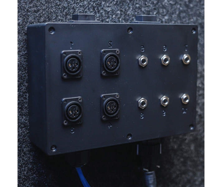 "A multi jack panel with 4 XLR jacks, 6 1/4"" stereo inputs, and 2 USB jacks"
