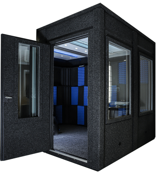 A WhisperRoom recording booth with an open wide-access door