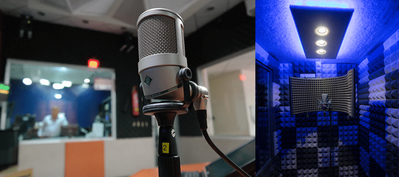 image of microphone set up for tracking vocals in a sound booth and a recording studio