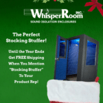 WhisperRoom's end of year promotion for free shipping with a booth inside of a stocking
