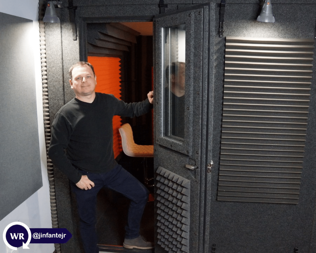 Voice actor Jorge Infante posing for a photo in his WhisperRoom