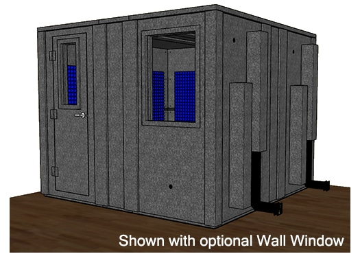 CAD drawing of a WhisperRoom 102102 E with the door closed
