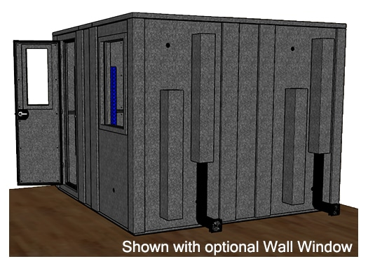 CAD drawing of a WhisperRoom 102102 E from the side with an open door