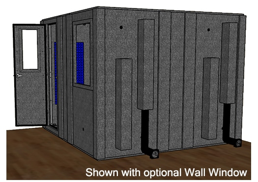 CAD drawing of a WhisperRoom 102102 S from the side with an open door