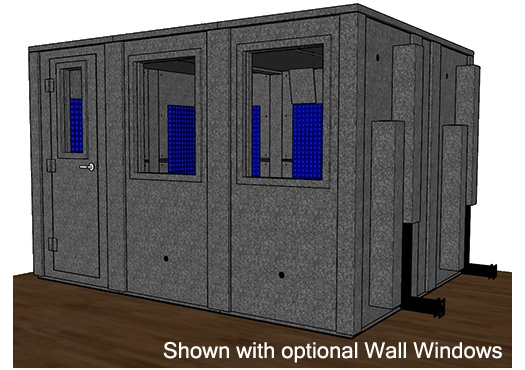 CAD drawing of a WhisperRoom 102126 E with the door closed