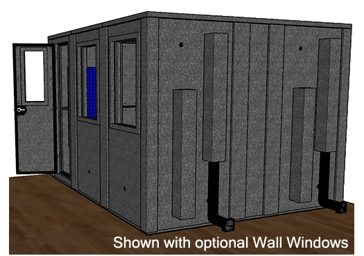 CAD drawing of a WhisperRoom 102126 E from the side with an open door