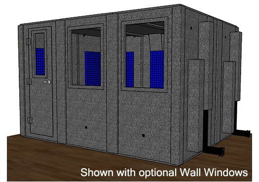 CAD drawing of a WhisperRoom 102126 S with the door closed