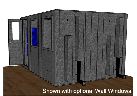 CAD drawing of a WhisperRoom 102126 S with the door open from the side
