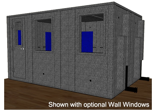 CAD drawing of a WhisperRoom 102144 E with the door closed