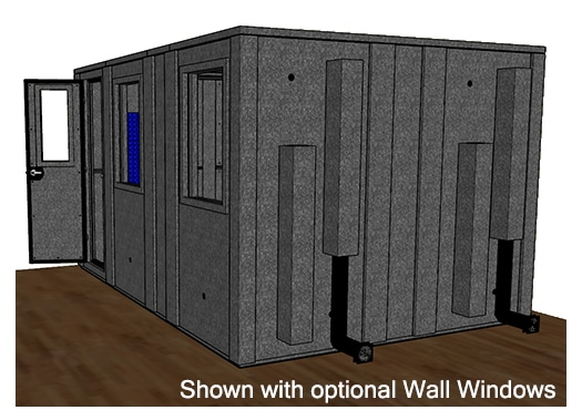 CAD drawing of a WhisperRoom 102144 E from the side with an open door