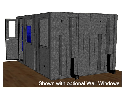 CAD drawing of a WhisperRoom 102144 S from the side with an open door