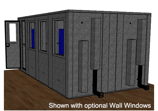 CAD drawing of a WhisperRoom 102168 E from the side with an open door