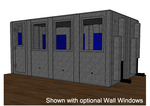 CAD drawing of a WhisperRoom 102168 S with the door closed