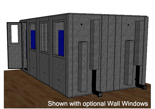CAD drawing of a WhisperRoom 102168 S from the side with an open door