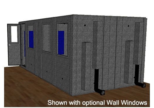 CAD drawing of a WhisperRoom 102186 S from the side with an open door