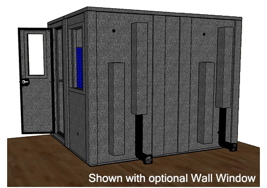 CAD drawing of a WhisperRoom 10284 E from the side with an open door