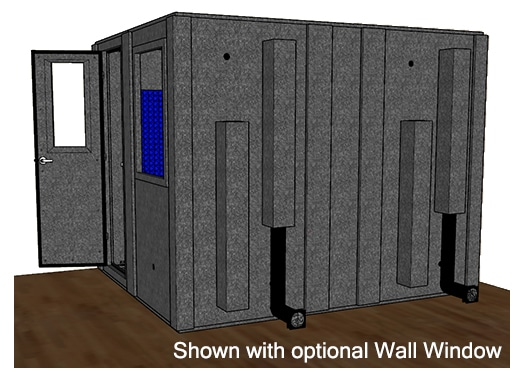 CAD drawing of a WhisperRoom 10284 S from the side with an open door
