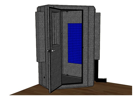 CAD drawing of a WhisperRoom 127 LP S with an open door