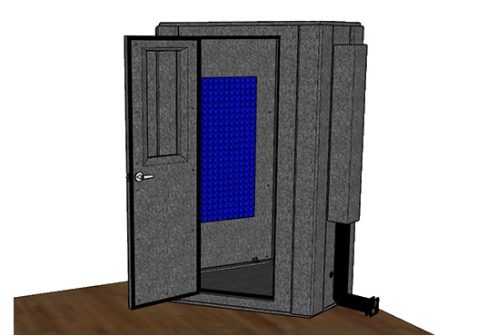 CAD drawing of a WhisperRoom 127 LP S from the side with an open door