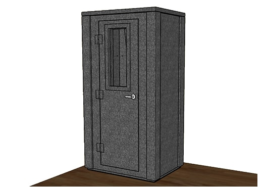 CAD drawing of a WhisperRoom 4230 E with the door closed