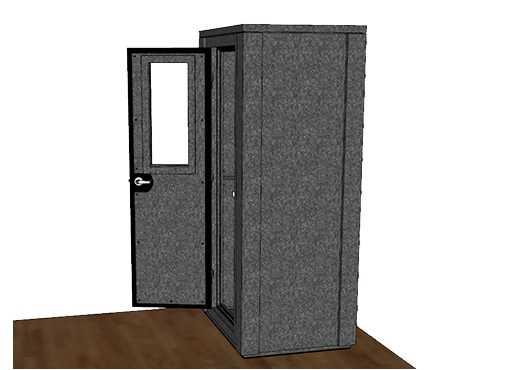 CAD drawing of the WhisperRoom 4230 E from the side with an open door