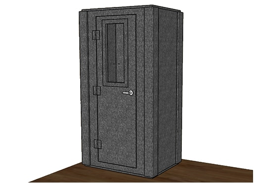 CAD drawing of a WhisperRoom 4230 S with the door closed