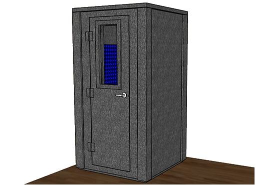 CAD drawing of a WhisperRoom 4242 E with the door closed