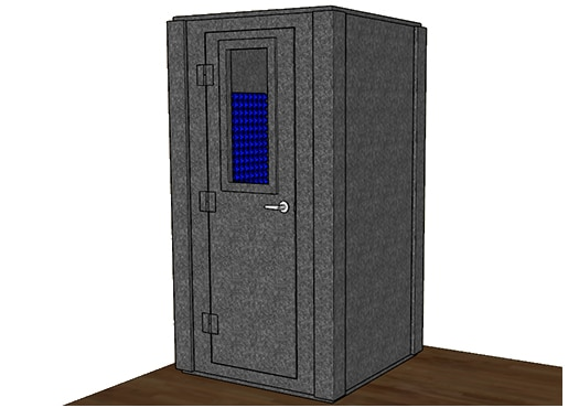 CAD drawing of a WhisperRoom 4242 S with the door closed