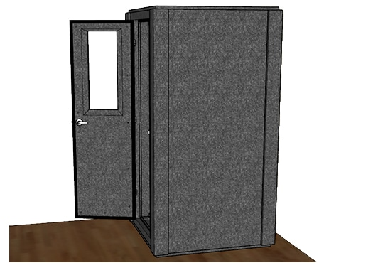CAD drawing of a WhisperRoom 4242 S from the side with an open door