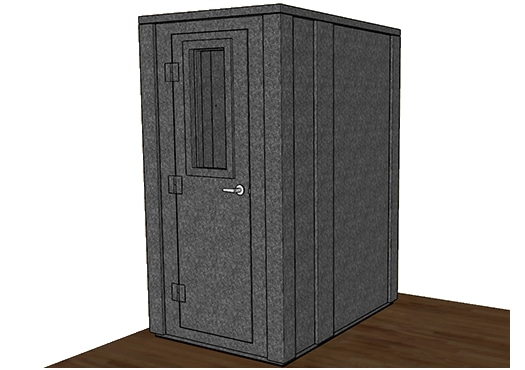 CAD drawing of a WhisperRoom 4260 E with the door closed