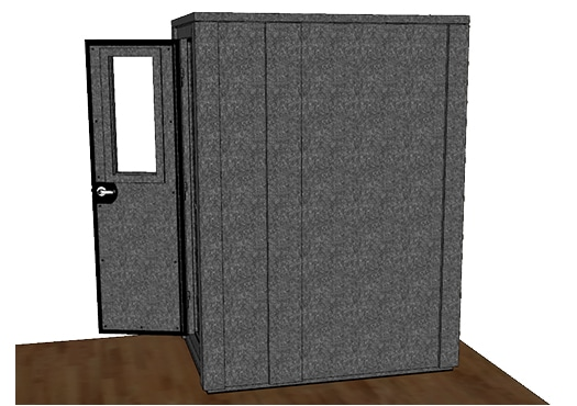 CAD drawing of a WhisperRoom 4260 E from the side with an open door