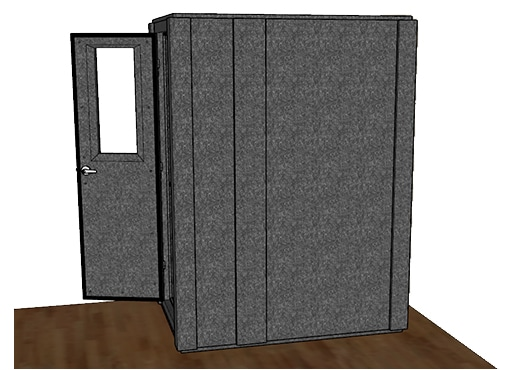 CAD drawing of a WhisperRoom 4260 S from the side with an open door