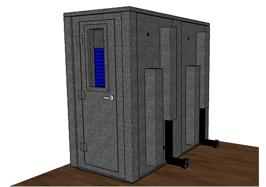CAD drawing of a WhisperRoom 4284 E with the door closed