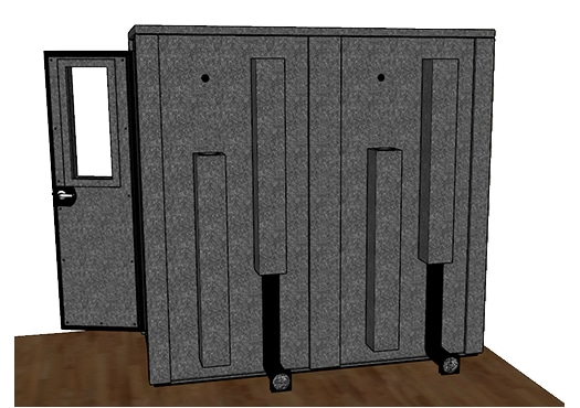 CAD drawing of a WhisperRoom 4284 E from the side with an open door