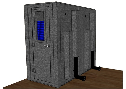 CAD drawing of a WhisperRoom 4284 S with the door closed
