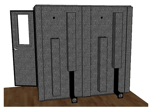 CAD drawing of a WhisperRoom 4284 S from the side with an open door