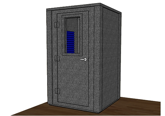CAD drawing of a WhisperRoom 4848 E with the door closed