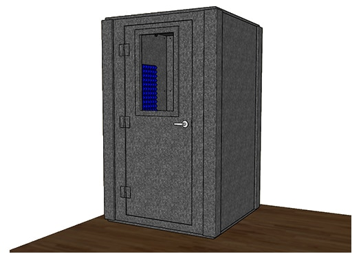 CAD drawing of a WhisperRoom 4848 S with a closed door