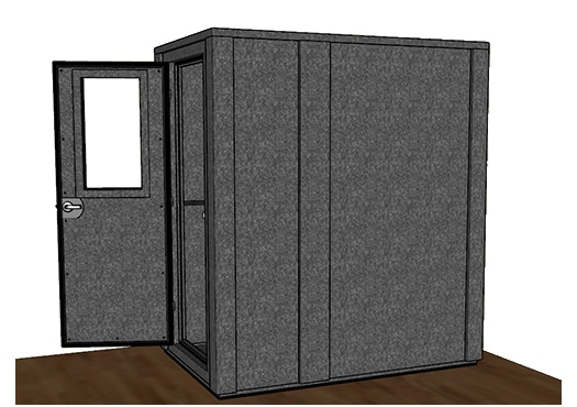 CAD drawing of a WhisperRoom 4872 E from the side with the door open