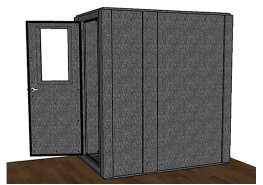 CAD drawing of a WhisperRoom 4872 S from side with door open