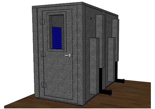 CAD drawing of a WhisperRoom 4896 E with the door closed