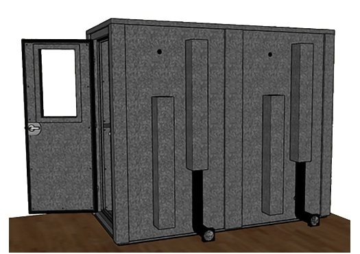 CAD drawing of a WhisperRoom 4896 E from the side with door open