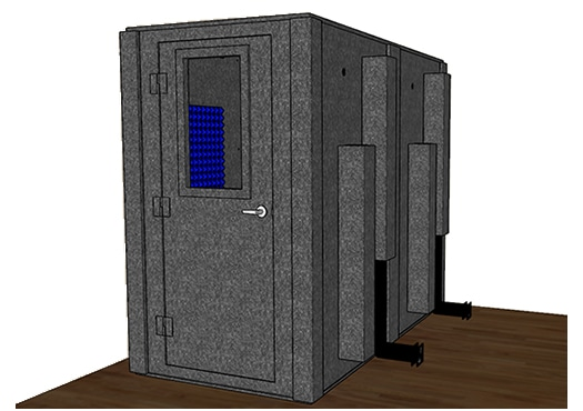 CAD drawing of a WhisperRoom 4896 S with the door closed