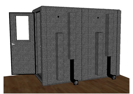 CAD drawing of WhisperRoom 4896 S from the side with an open door