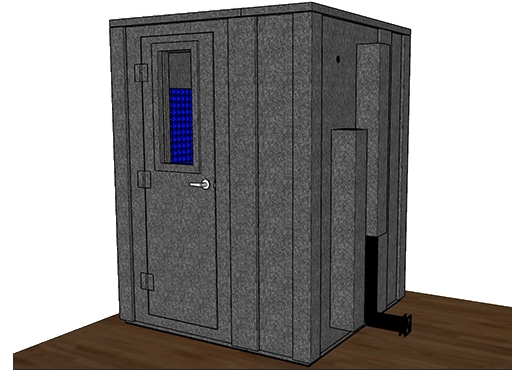 CAD drawing of a WhisperRoom 6060 E with a closed door